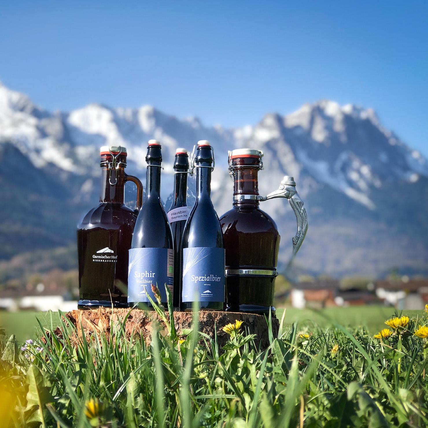 Garmischer Hof Bierbrauerei Getränkekarte Biersortiment