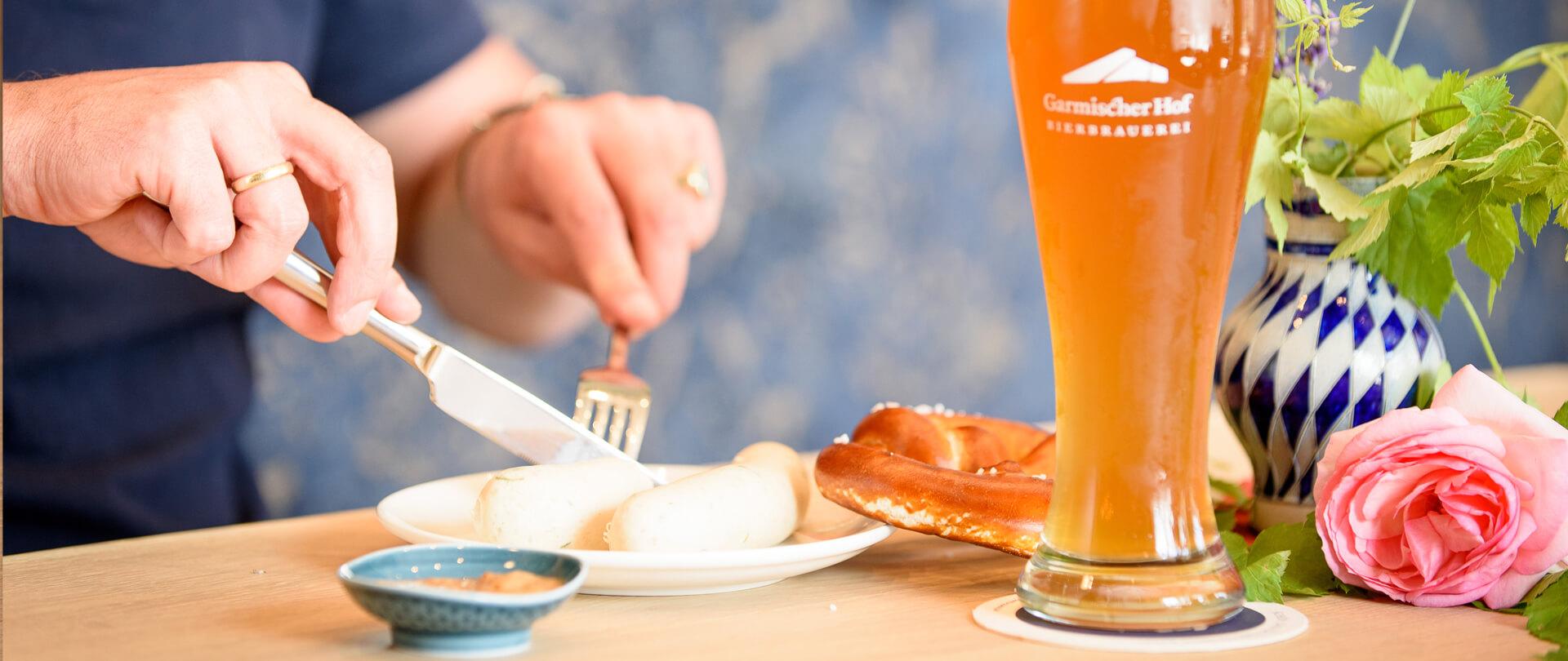 Garmischer Hof Speisen Weißwurst mit Bier